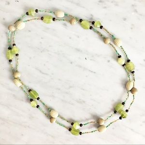 Lime Green Beaded Long Necklace